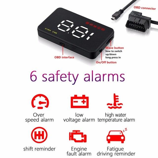 Conjunto 1 Digital Velocímetro Do Carro Auto Car HUD Head Up Display Pára Projeto Velocímetro Over-speed Alarme Alarme de Tensão a1000