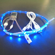 Waterproof LED String Light USB Charging Rechargeable Battery Powered 3V SMD3528 RGB 60CM 24 LED Tape Strip for DIY Shoes Gift