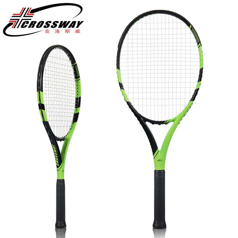 CROSSWAY Professional Tennis Racket High Grade Black Green Carbon Fiber Strength Net Shot Shock Absorber Handle Full Equipment