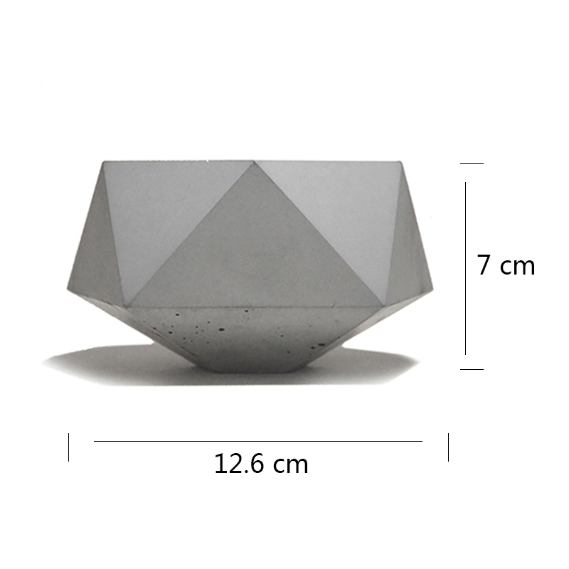 Silicone Mold Concrete Flowerpot Mould Triangular Polyhedron Handmade Cement Planter Tool