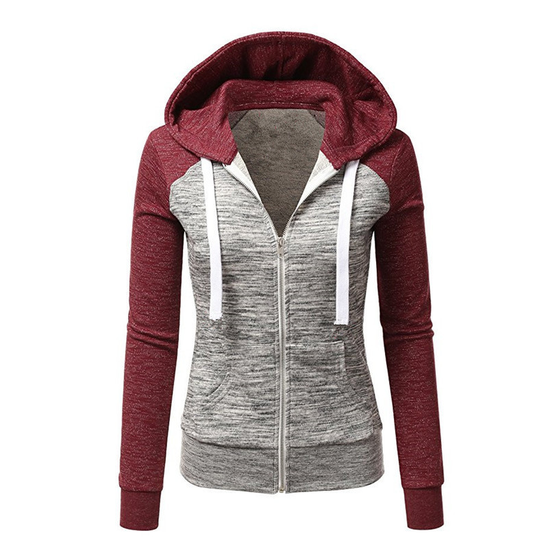 Autumn and winter new European and American foreign trade fashion hoody Coat with color baseball jacket short coat in Hoodies amp Sweatshirts from Women 39 s Clothing