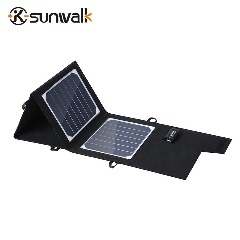 SUNWALK ELEGEEK High Efficiency Foldable Sunpower Solar Panel Charger 5V Output Solar Power Bank Camping Charger for Cell Phone