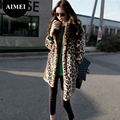 2017 Europe new fashion women casual imitation Leopard fur coat loose coat dress Sexy Leopard long large size fur coat