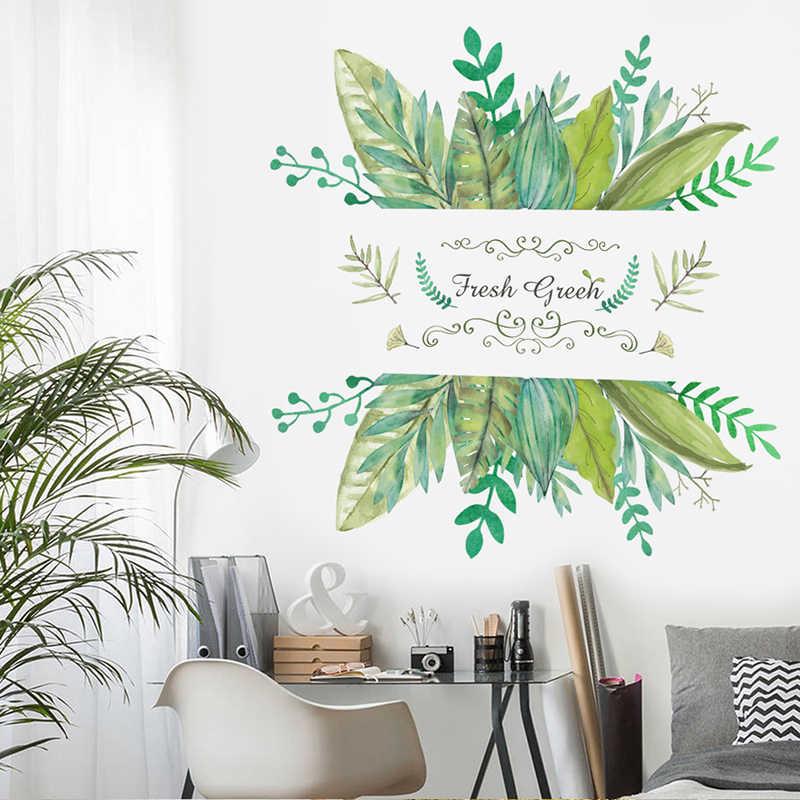 Planta de Jardim floresta Verde Adesivos de Parede Decorativos Para Casa Porta TV Sofá Fundo Decoração Living Room Decor PVC Mural Decalque