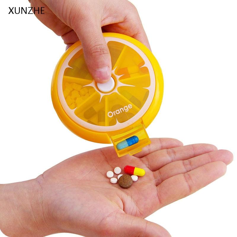 XUNZHE Food Grade PP Multi-Function 7 Grid Pills Box Cute Portable Travel Drug Classification Storage Box One Week Medicine Box