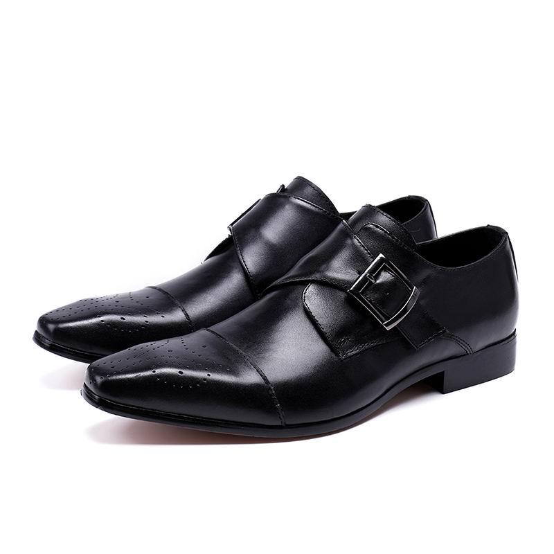 O Negócios Fivela Cinta Dedo Venda Preto Pé Errfc Party Squard Marrom Sapatos Do Couro Dos Office De Homens Homem Para Formal Lazer marrom Preta Quente tCnRwqwxU