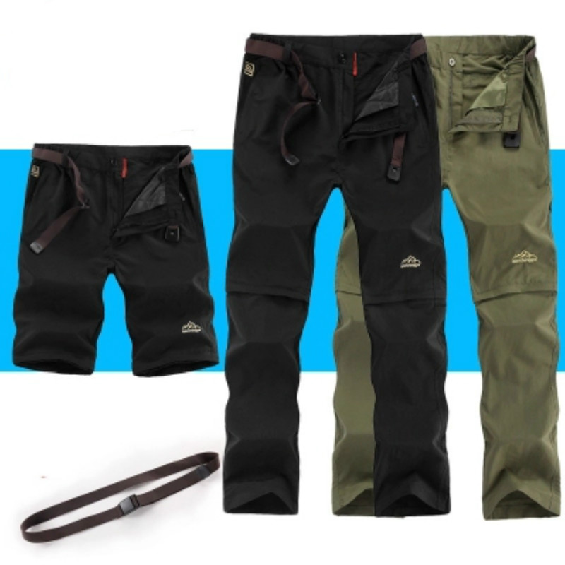 Outdoor Summer Removable Thin Breathable Trousers Waterproof Quick Dry Hunting Pants Men Camping Fishing Hiking Pant Plus Size