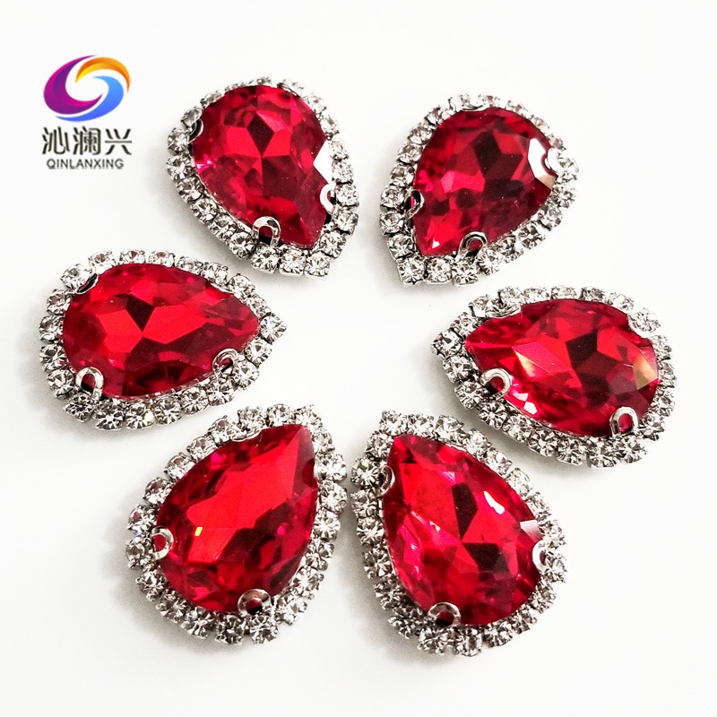 Free shipping Top grade Silver bottom Glass Crystal buckle,Red Drop shape sew on rhinestones,Diy/wedding decoration SWSKY07