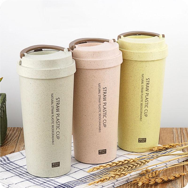 2018 Hot Water Bottle 500ml Office Coffee Bottle Wheat Straw Plastic LeakProof Double Layer Sports Drinkware Bottle Dropshipping