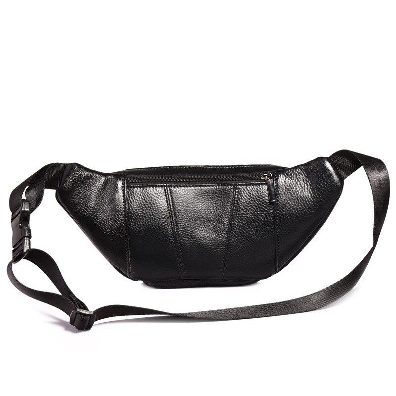 YIANG Brand Designer Men Waist Bag Real Leather Belt Bag Solid Färg - Bälten väskor - Foto 2