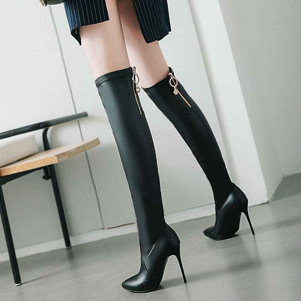 Women Fashion Over the Knee Boots Pu Leather Sexy Thin High Heel Zipper Boots Pointed Toe Autumn Winter Woman Shoes 2018 Boots knee high women spring autumn boots sexy high heel leather boots pointed toe buckle decoration designer boots wine white shoes