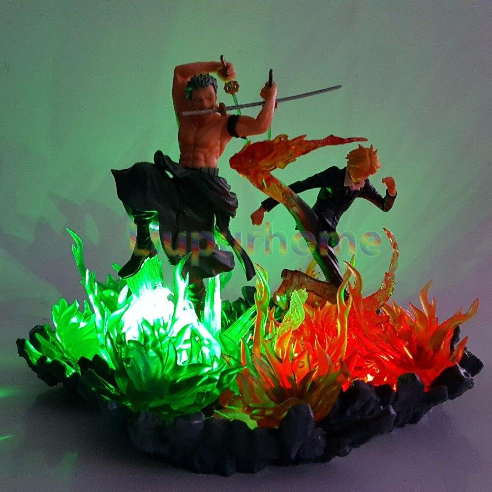 Una pieza Zoro Sanji luces Led escena de fuego Anime una pieza luces de noche modelo juego de mesa lámpara