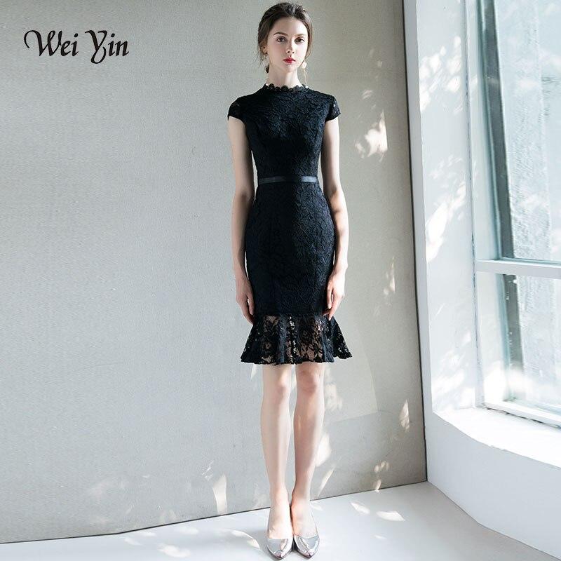 Weiyin Elegant Short Lace Cocktail Dresses Sheer Neck Keyhole Back Above Knee Length Mother Of The Bride Gowns Vestidos De Festa