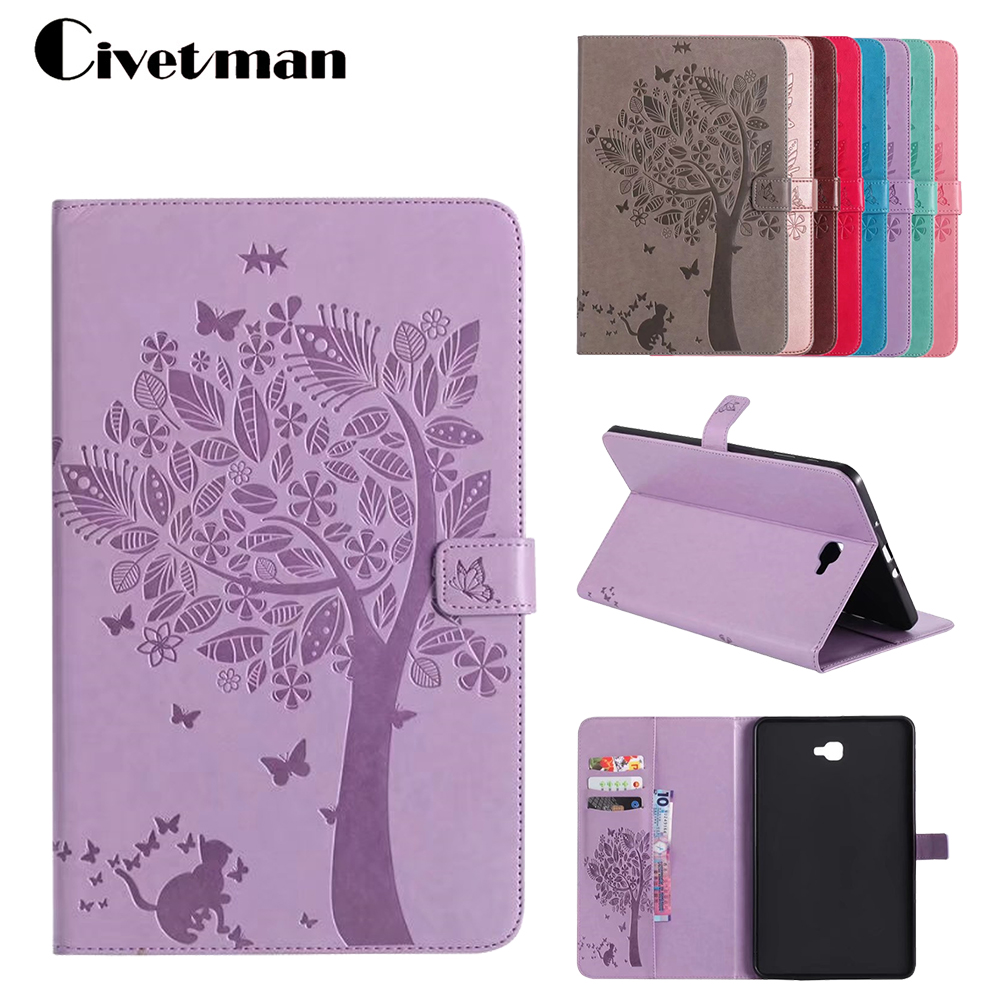 Tablet Cover For Coque Samsung Galaxy Tab A 10.1 2016 T585 T580N Flip PU Leather Case Stand Embossing For Galaxy Tab A 10.1 T580 ultra thin smart flip pu leather cover for lenovo tab 2 a10 30 70f x30f x30m 10 1 tablet case screen protector stylus pen