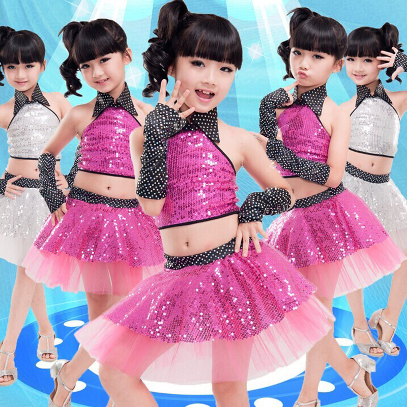 Free shipping girls sequins veil suit jazz dance performance stage costume set for children JQ-320