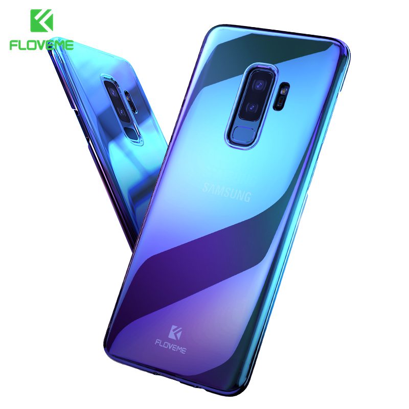 FLOVEME Phone Case For Galaxy S9 S9 Plus S7 S7 Edge Gradient Blue-Ray Light Plastic PC Case For Samsung A3 A5 2016 2017 Cover