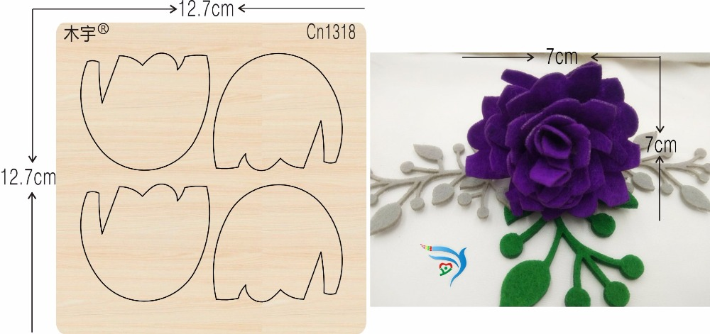 Purple Flowers New Wooden Mould Cutting Dies For Scrapbooking Thickness-15.8mm