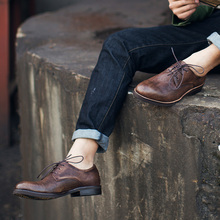 Brand designer handmade casual oxford shoes men low price good quality round toe leather shoes dress party formal groom shoes