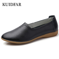 KUIDFAR Women Flats Shoes Genuine Leather Cut Out Slip On Ladies Ballet Flats Loafers Female Moccasins