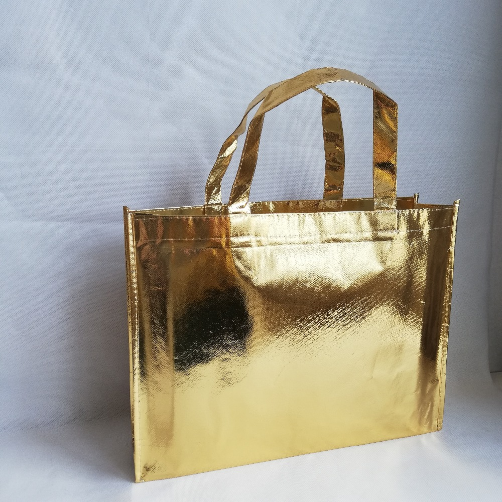 Whalesale 100pcs lot Shiny Gold Metallic Laser Shopping Tote Bag Solid Non Woven Bags for Fair