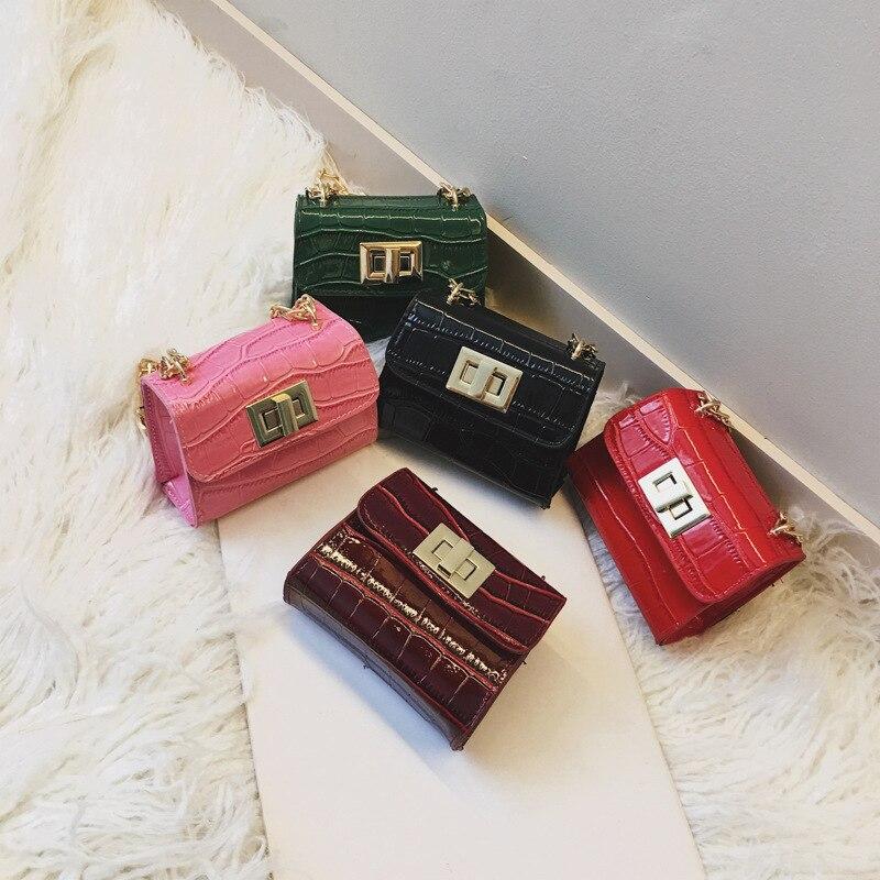 Children Mini Hasp Design Cross-body Handbag Fashion Girls Kids PU Shoulder Messenger Chain Bag PU Leather Handbags