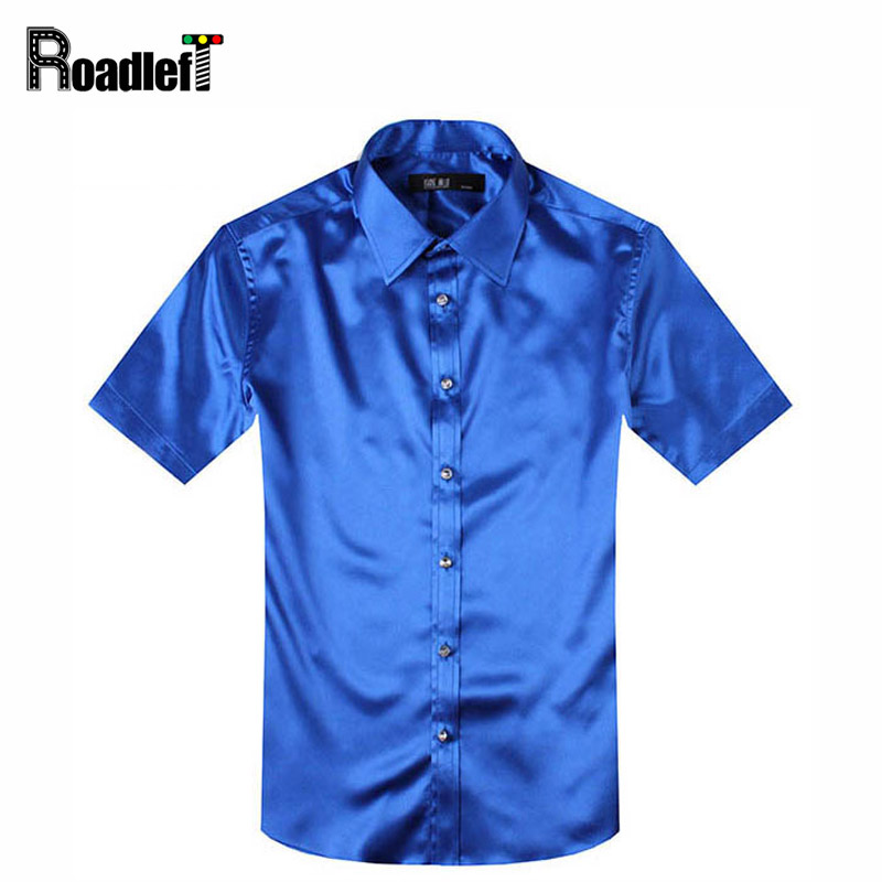 Male summer short sleeve shirts mens silk slim fit shirt for Mens black short sleeve dress shirt