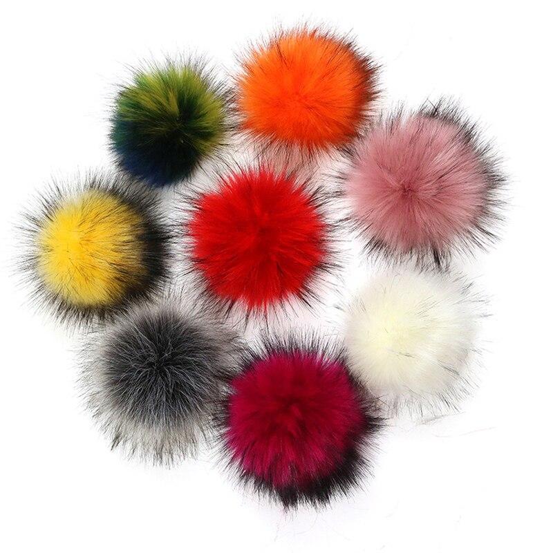 1pc Fluffy Faux Raccoon Fur Pompom Balls 13cm Soft Artificial DIY Fur Pom Pom for   Beanie   Hats Keychain Accessory Pompoms Ball