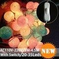 Con interruptor de Tailandia estilo hecho a mano de algodón Bola Luces de la Secuencia de Hadas de la boda de NAVIDAD Patio Decoración de la boda luces de navidad led cadena