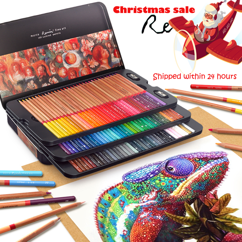Marco Renoir 24/36/48/72/Conjunto de Lápis 100 Cores lapices de colores profesionales Crayons Coloração lápis de desenho Definido Por Atacado