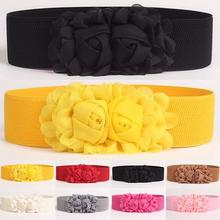 Fashion Women Girl Fashion Wide Stretch Elastic Waist Belt Solid Color Flower Wa