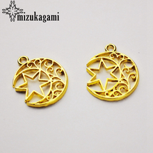 20pcs/lot UV Resin Zinc Alloy Metal Frame Pendant Golden Moon Charm Bezel Setting Cabochon