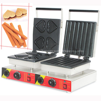 1PC NP 565 Double heads waffle machine HEARTS + CHURROS style electric waffle maker stainless steel 220V 50Hz/110V 50Hz