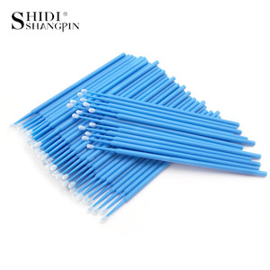Image 3 - SHIDISHANGPIN 100 PCS Einweg Make Up Wimpern Mini Einzelne wimpern Applikatoren Mascara Pinsel Lash Extensions Baumwolle Tupfer