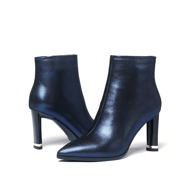Black Bleu Haute Bout Couleur Grand blue De Femme Rétro Vache Talons Cuir Pointu D'hiver Bottes Avec Solide En Élégant Peluche Design Stylesowner zRPSqn