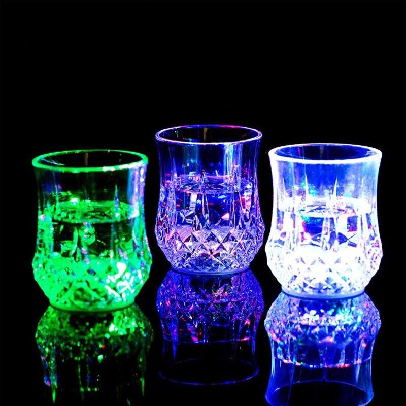 Led Colorful Flash Light Whisky Shot Drink Plastic Wine Beer Mug Bar Party Wedding Club Decorative