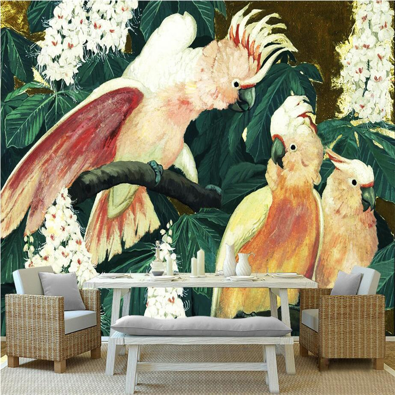 Custom Wall Papers Home Decor Parrot Branches Photo Wall Murals Painting Embossed TV Background 3d Wallpaper for Living Room