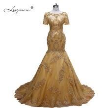 Leeymon Luxury Short Sleeves Wedding Dress Gold Beaded Wedding Gown 2018  Memraid Crystal Robe de Marriage Real Picture 43ef7bbc0687