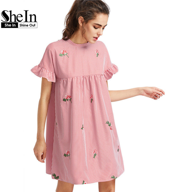 Shein галстук-бабочку вернуться жабо рукава вышитые полосатый babydoll dress лето симпатичные o шея короткая dress pink line dress
