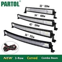 Partol 22 32 34 42 50 52 inç Kavisli LED Işık Bar Offroad 12 V 24 V 4x4 Tri-Satır İş Işık Nokta Sel Combo Için Kalaslar atv, SUV