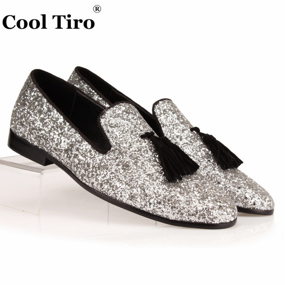 COOL TIRO Silver Glistening Glitter Men Loafers Black Tassel Sequins Slippers Shoes Mens Dress Shoes Flats