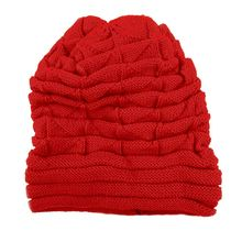 Elegant Women Winter Crochet Hat Wool Knit Beanie Warm Caps (Red)