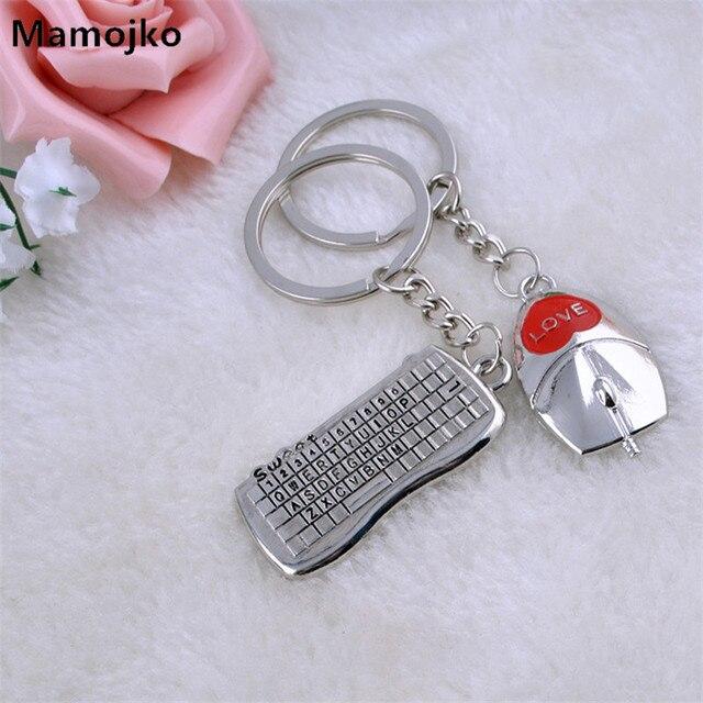 Mamojko Fashion Couple Mouse   keyboard Key Chain Women Men Key Holder Bag  Buckle Accessory Charm HandBag Pendant Key Ring Gifts ff5eb1d25e9d