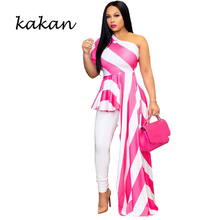 Kakan summer new womens stitching print dress fashion striped shoulder nightclub irregular S-3XL