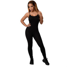 Echoine Summer Spaghetti Strap Long Jumpsuit Women Black White Casual Fitness Backless Stretch Bodycon Bodysuit Overalls