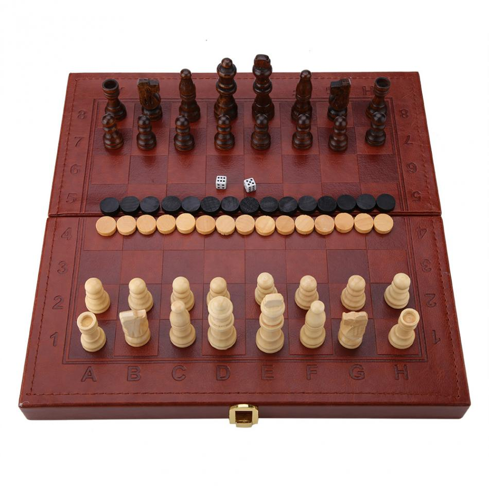 3 in 1 Portable Wooden Chess Checkers and Backgammon Board Game 9