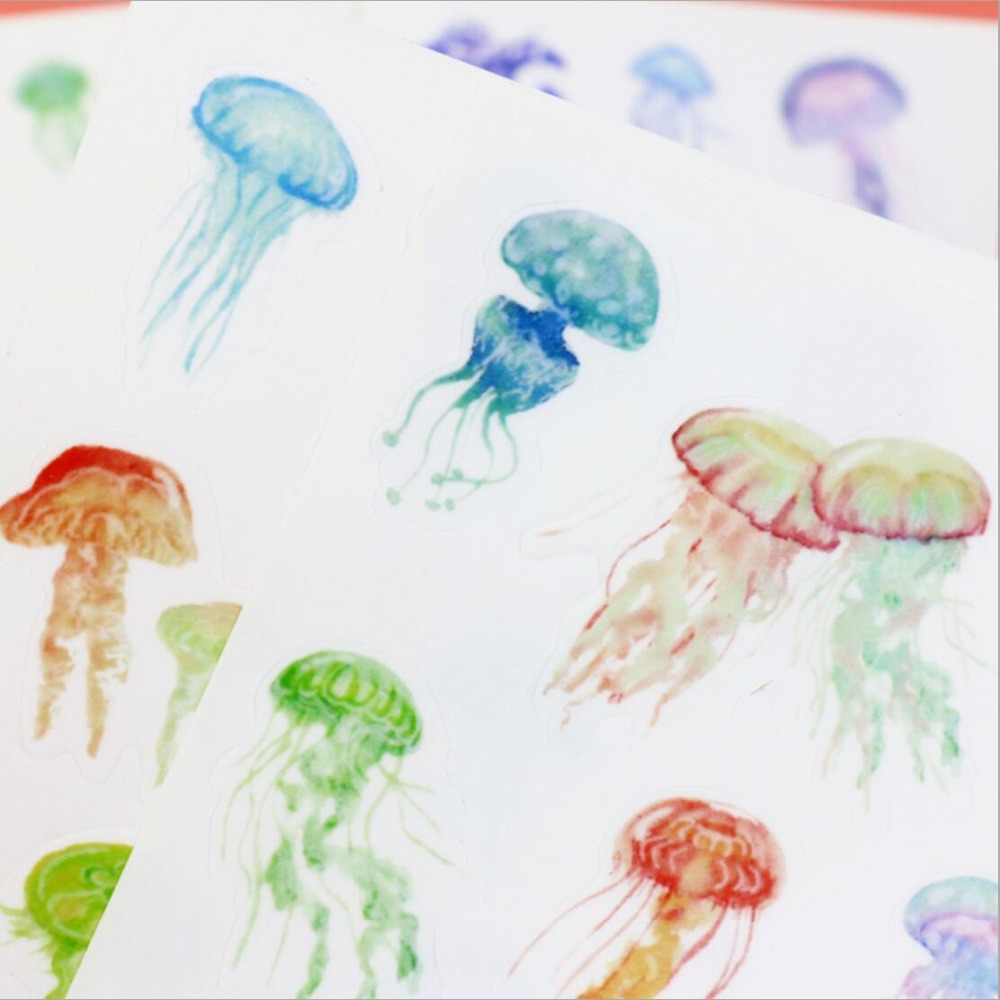 4 pcs/pack Jellyfish Dull Polish Decorative Stickers Mobile Phone Stickers Stationery DIY Album Stickers 4 pcs pack retro little prince vintage folding stamps stickers diy paper decorative stickers europe style stationery stickers