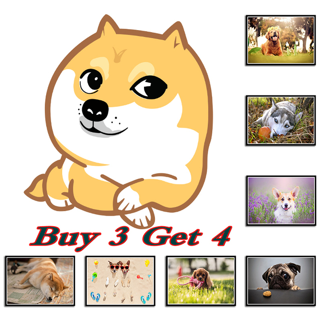 Funny Dog Art Prints Pet Puppy Hipster Animals Wall Paintings ...
