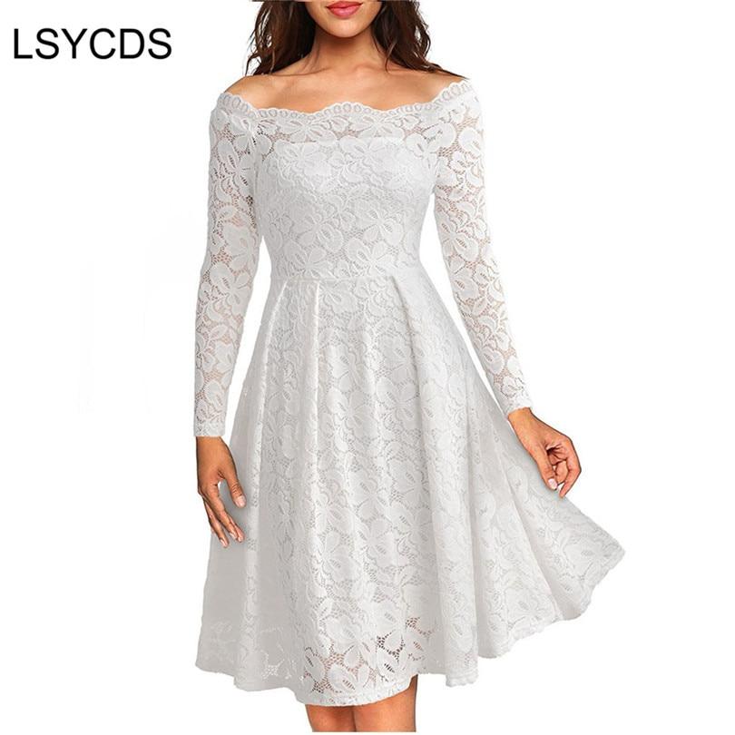 Woman Dresses 2018 Long Sleeve Slash Neck Wedding Party Wear Casual A-line Sexy Red Black White Lace Dress Plus Size S-3XL