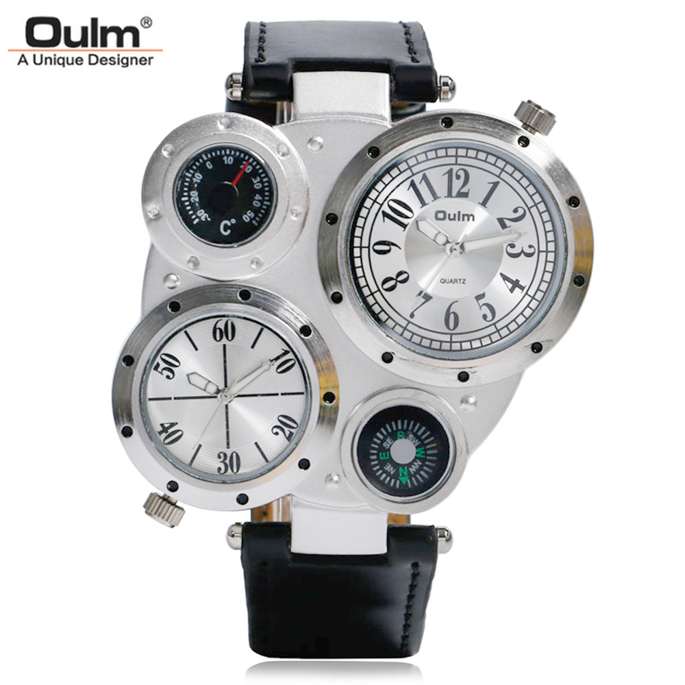 OULM 2017 Military Quartz Watch Men's Deco Compass Stylish Army Leather Strap Sport Modern Double Movement Big Wrist Watches oulm men s quartz military wrist watch with dual movt compass