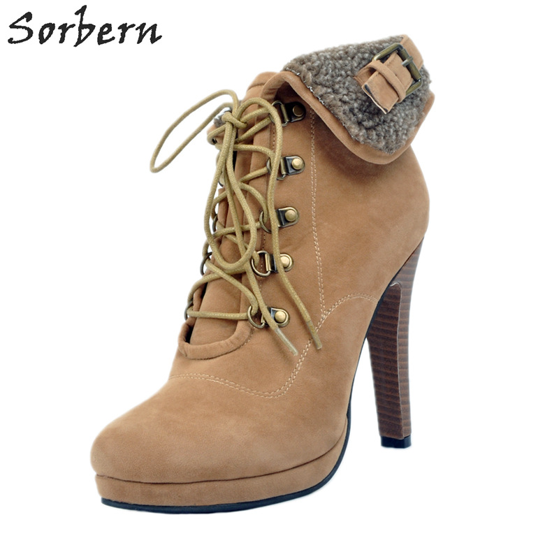 Sorbern Winter Boots Women Spike Heels Lace Up Plus Size 34-47 Shoes Women Platform High Heels Custom Colors Winter Style Shoes sorbern extrem high heel strange style wedges thigh high boots designer platform boots long custom shoes women plus size 4 15